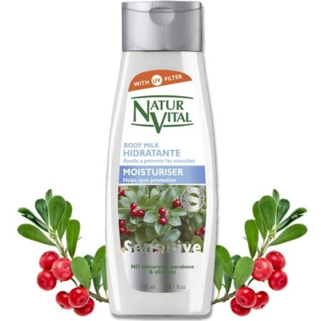 spot prevention, body milk. moisturiser - Body Milk Moisturiser - NaturVital Hair Care Products. NaturesWell UK - Ireland - Bearberry extract rich in arbutin along with 100% organic Pomegranate extract help to reduce the intensity of skin spots, providing hydration, smoothness and luminosity. Contains UV filter.