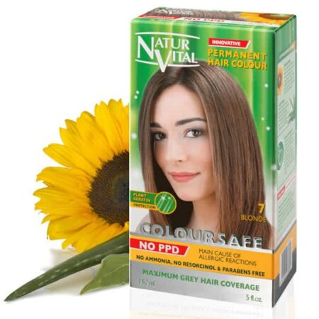 dark blonde hair dye, ppd free dark blonde hair color, no ppd dark blonde hair color - Naturvital Coloursafe PPD Free hair dye dark Blonde No. 7, no ammonia, no parabens - NaturVital Hair Care Products. NaturesWell UK - Ireland - Coloursafe dark blonde No 7, UK's 1st permanent Hair Dyes,(P-Phenylenediamine) PPD free hair color, NO Ammonia, NO Parabens. Best natural hair care.