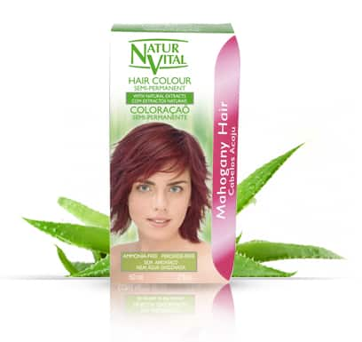 Natur Vital Semi-Permanent MAHOGANY - NaturVital Hair Care Products. NaturesWell UK - Ireland - Bright mahogany colour Covers Grey