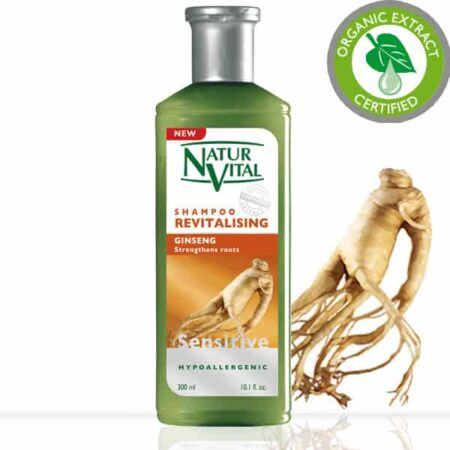Sensitive Revitalising Shampoo - NaturVital Hair Care Products. NaturesWell UK - Ireland - Hypoallergenic shampoo with extracts of Ginkgo and Ginseng extracts. It is a perfect daily supplement for cleaning and care of your hair, giving it more strength and endurance. Contains no dyes, silicones, parabens preservatives or mineral oils. Bio Extract Certified. SUITABLE FOR VEGANS
