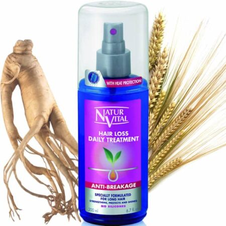 hairloss, hair loss, anti-breakage, conditioner - Hair Loss Conditioner Leave-In Anti-Breakage - NaturVital Hair Care Products. NaturesWell UK - Ireland - Hydrolysed Wheat Proteins (HWP) penetrate and strengthen the hair shaft, improving its hydration levels, softness and shine, and making it less susceptible to breaking. The Phytoactive Complex obtained from Wheat and Soy sprouts and Ginseng extract provide the scalp with the energy and nutrients it needs to stimulate hair growth.