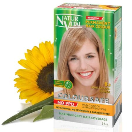 light golden blonde hair dye, ppd free light golden blonde hair color, no ppd light golden blonde hair color - Naturvital Coloursafe PPD Free hair dye Light Golden Blonde No. 8.3, no ammonia, no parabens - NaturVital Hair Care Products. NaturesWell UK - Ireland - Coloursafe light golden blonde No 1, UK's 1st permanent Hair Dyes,(P-Phenylenediamine) PPD free hair color, NO Ammonia, NO Parabens. Best natural hair care.