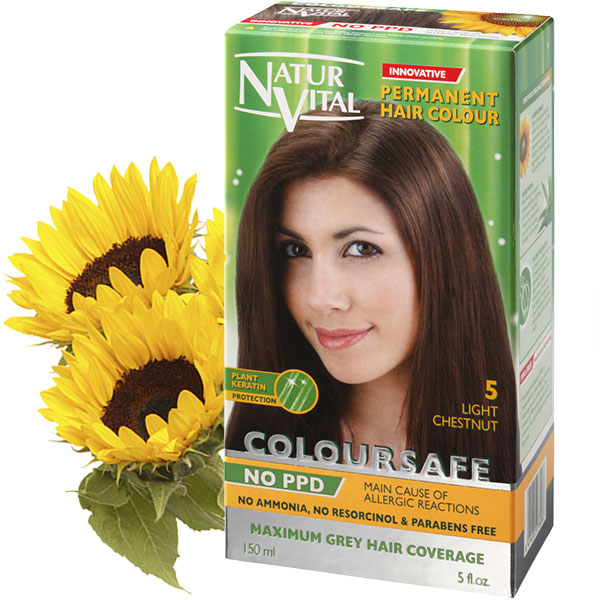 PPD Free ColourSafe Light Chestnut No. 5 Hair Dye | NaturVital