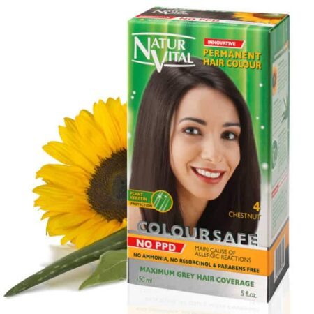 dark brown hair dye, ppd free dark brown hair color, no ppd dark brown hair color - Naturvital Coloursafe PPD Free hair dye dark brown No. 1, no ammonia, no parabens - NaturVital Hair Care Products. NaturesWell UK - Ireland - Coloursafe Chestnut No 4, UK's 1st permanent Hair Dyes,(P-Phenylenediamine) PPD free hair color, NO Ammonia, NO Parabens. Best natural hair care.