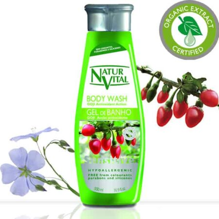 Sensitive Body Wash - NaturVital Hair Care Products. NaturesWell UK - Ireland - Bath gel recommended for hypoallergenic skin. Keeps skin soft and hydrated by the combined action of Goji and Linen extracts. Contains emollients derived from coconut oil and surfactants derived from vegetable ingredients. It is especially suitable for sensitive skin.                       SUITABLE FOR VEGANS