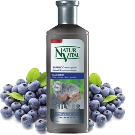 shampoo white, grey hair, gray hair - Shampoo White Or Grey Hair - NaturVital Hair Care Products. NaturesWell UK - Ireland - Contains Blueberry extract from organic farming and Pro-vitamin B5. Removes the yellowish hue from white and grey hair by providing since first use a natural brightness with a silvery hue that lasts several washes.
